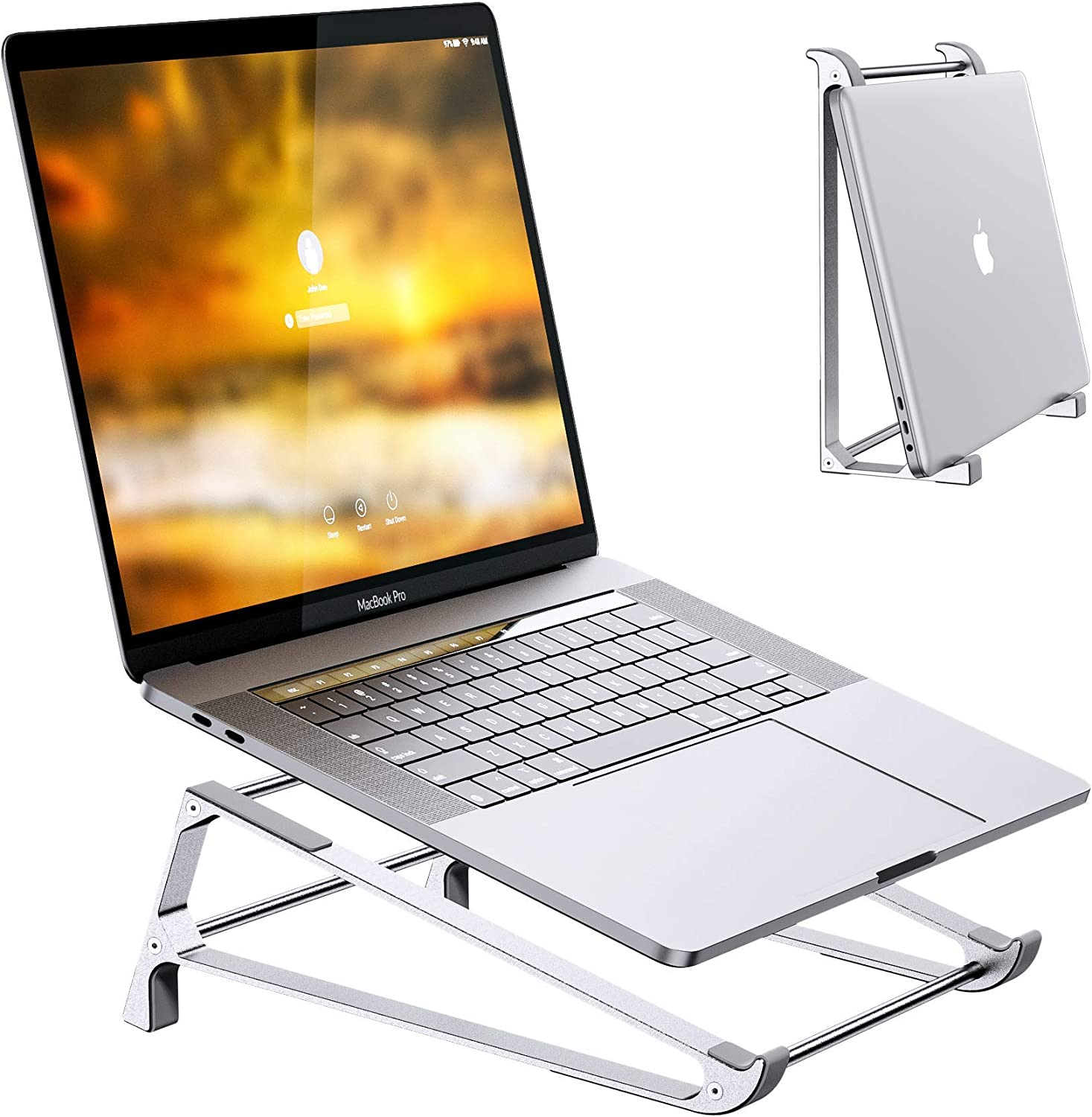 Laptop Stand for Desk, Premium Aerometal Ergonomic Vertical Laptop Stand Holder Compatible with MacBook, Surface, Dell, Lenovo, and Other 10-17 inch Desktop Ventilated Riser, Betidom 2 in 1 Design