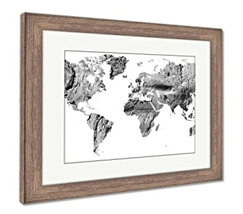 Wood World Map Cut Out.Amazon Com Ashley Framed Prints World Map Cut Out In Ancient Grunge