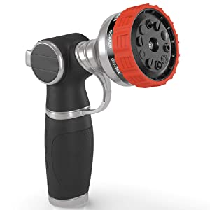 Heavy Duty Garden Hose Nozzle Hand Sprayer with 10 Adjustable Spray Patterns Heavy-Duty Metal Water Hose Spray Nozzle - High Pressure | Thumb Switch Flow Control for Car Wash,Watering Lawn & Garden