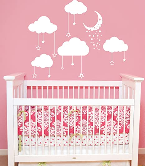 Cloud Wall Decal Clouds Decals Moon And Stars Cloudy Sky Baby Room - Nursery wall decals clouds