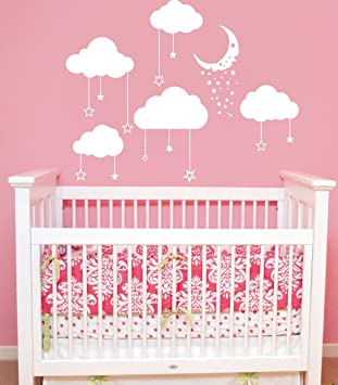 Cloud Wall Decals Baby Room Nursery Clouds Moon And Stars Wall Vinyl Decal  Stickers Playroom Kids