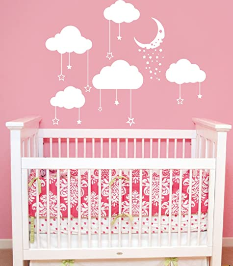 Cloud Wall Decals Baby Room Nursery Clouds Moon and Stars Wall ...