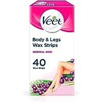 Veet Easy Gelwax Wax Strips Hair Removal for Normal Skin, 40 pack