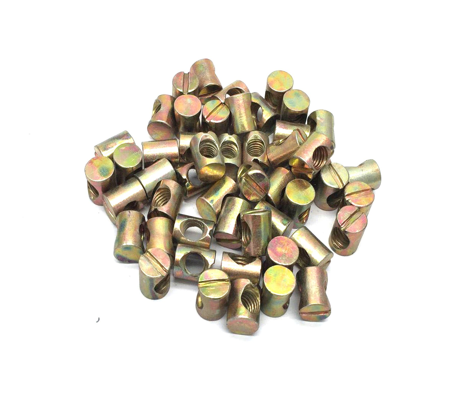 Antrader 50pcs Metric M8 x15 Barrel Nuts Cross Dowels Slotted Head Furniture Nuts for Cots Beds Crib Chairs