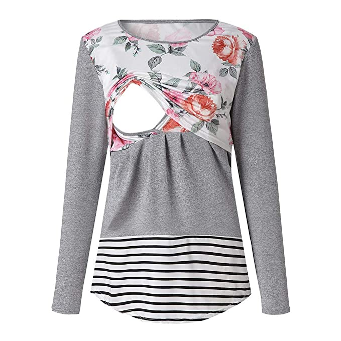4ecd5e93c38e1 Amazon.com  Women s Breastfeeding Tops Maternity Floral Striped Long Sleeve  Layered Casual Nursing T-Shirt Clothes  Clothing