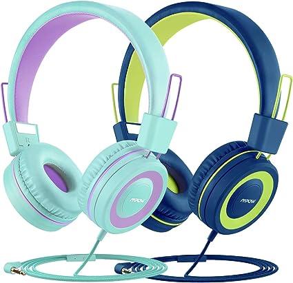 Mpow CH8 Auriculares para niños (2 Pack), Divisor de Cable de Audio, Sonido estéreo, Límite de Volumen de 91 dB, Micrófono Incorporado, Ligero, Diadema y Orejeras Suaves, Cable de Nylon sin enredos: