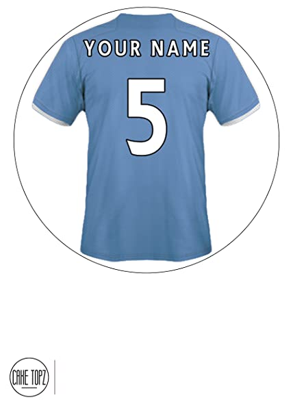 Customisable Manchester City Themed Football Shirt Edible Frosted Icing  Cake Topper - 7.5