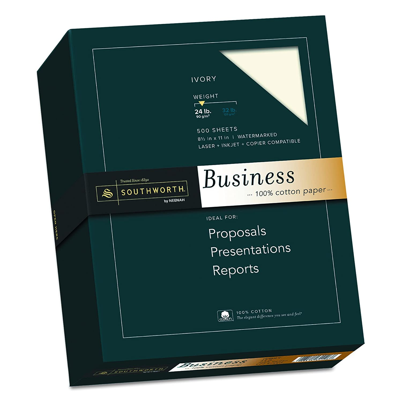 100% Cotton Business Paper, Ivory, 24 lbs., Wove, 8-1/2 x 11, 500/Box