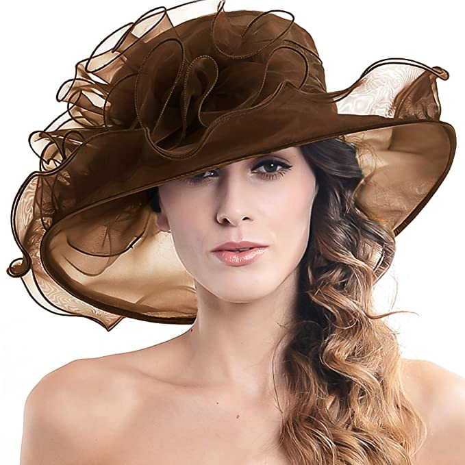 Edwardian Hats, Titanic Hats, Tea Party Hats Womens Church Derby Kentucky Wide Brim Sun Hat with Flower S019 $18.99 AT vintagedancer.com
