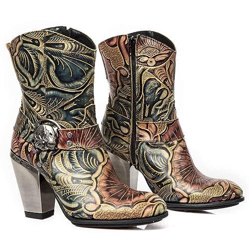 New Rock M.BULL014-S1 Mujer Chica Botines Marrón Cuero Plataforma Cremallera Cowboy Gótico Heavy Western Punk Rock Urban Fashion: Amazon.es: Zapatos y ...