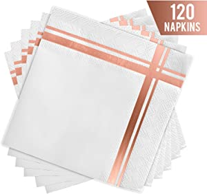 Fanxyware White and Rose Gold Cocktail Napkins, 3-ply, 120 Pack, 5