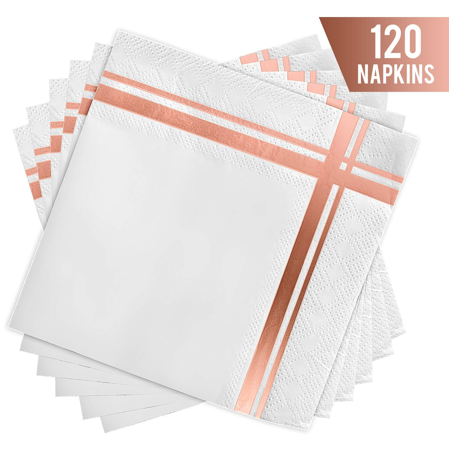Fanxyware Rose Gold Stripe Cocktail Napkins, 3-ply, 120 Pack, 5'' x 5'' - White Cocktail Napkin with Foil Rose Gold Stripe Design - Rose Gold Party Decorations - Shiny Rose Gold Beverage Wedding Napkins by Fanxyware