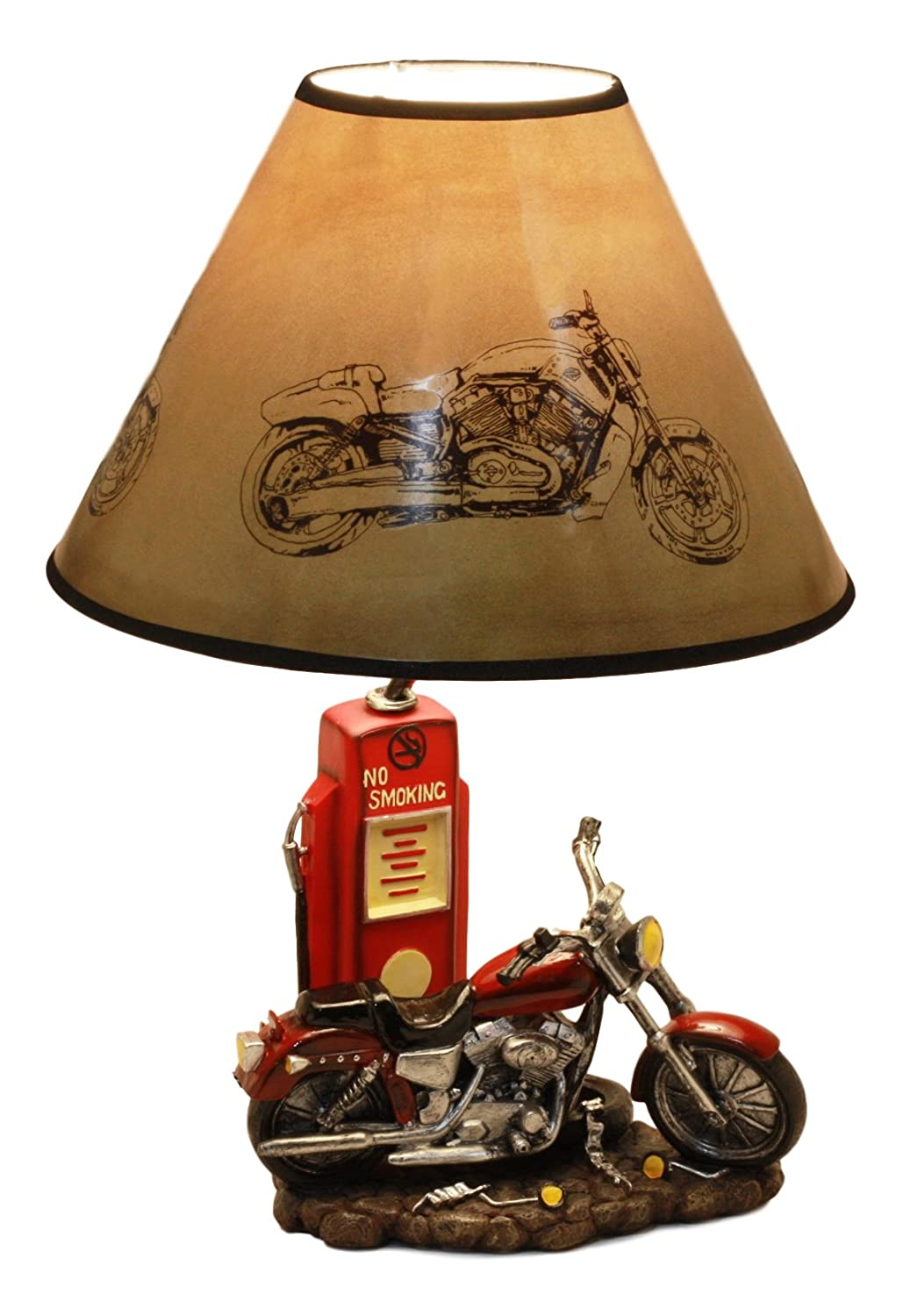 "Ebros Vintage Retro Red Motorcycle By Classic Gas Pump Desktop Table Lamp 19""Tall Nostalgic Highway Road Runner Home Decor"