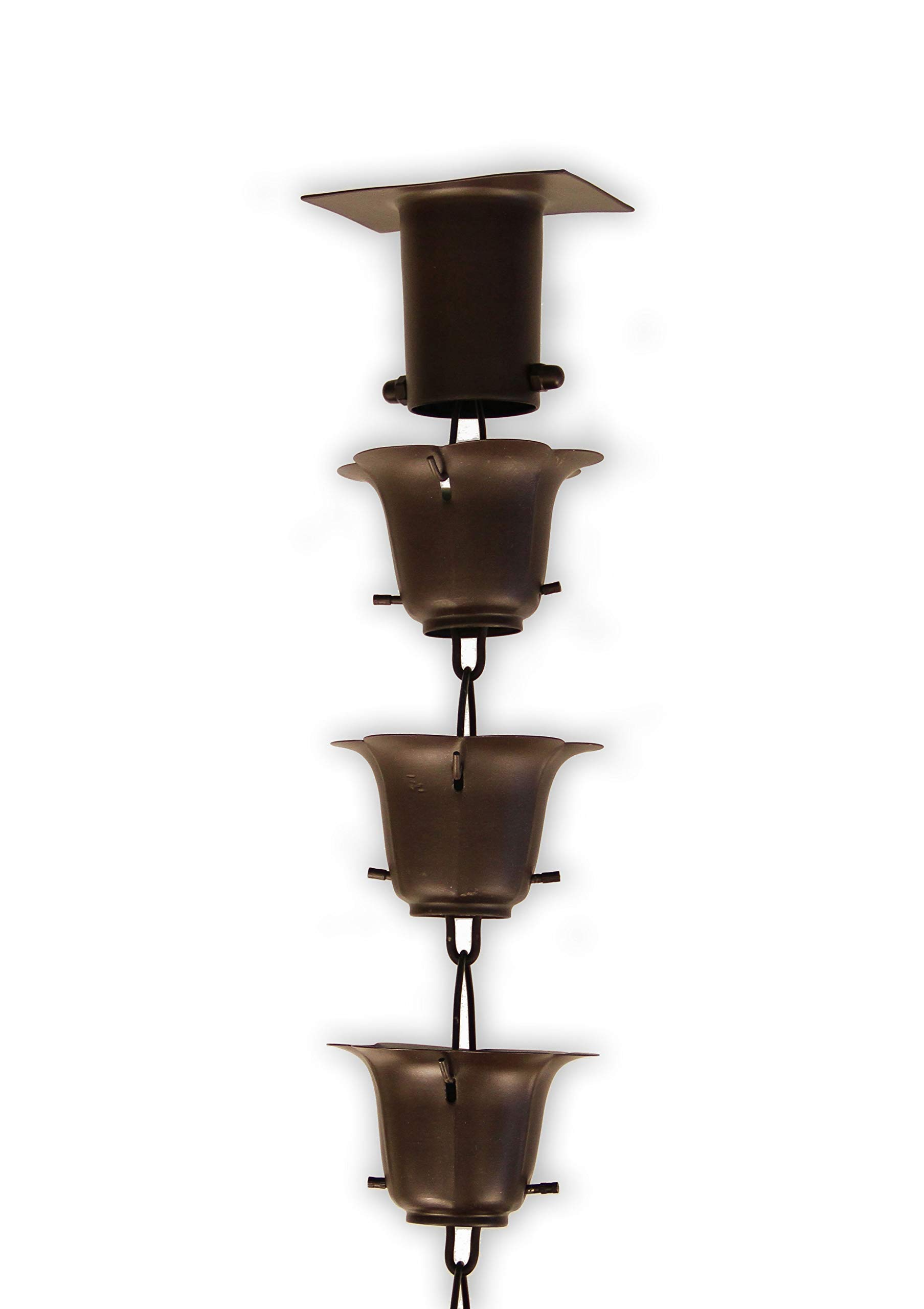 Rainchains, Inc. Bronze Iron Flower Cup RAIN Chain with Installation KIT (9 Feet)