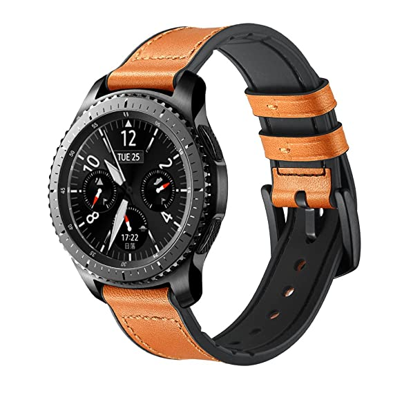 Maxjoy Compatible with Galaxy Gear S3 Watch Bands 46mm,22mm Hybrid Sports Band Vintage Leather Sweatproof Replacement Strap with Metal Clasp ...