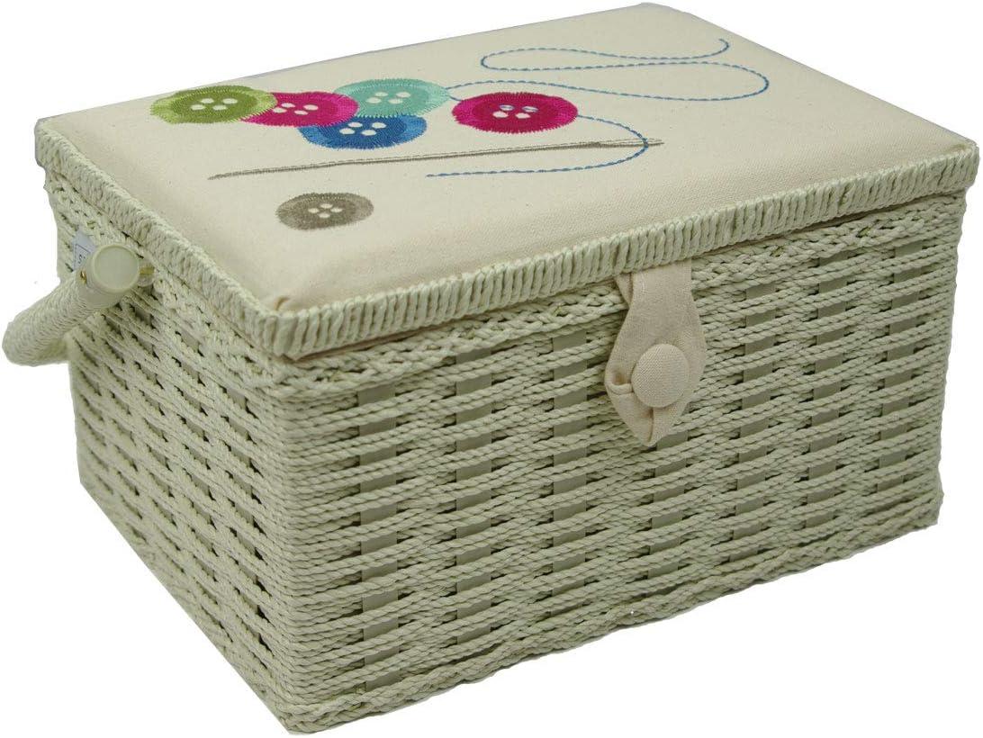 Botones aguja hilo crema bordado medio caja de coser Sewing Online FM-001
