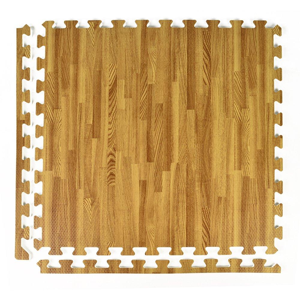 Greatmats Wood Grain and Cork Interlocking 2 ft x 2 ft Foam Floor Tiles 25 Pack Light Wood Grain