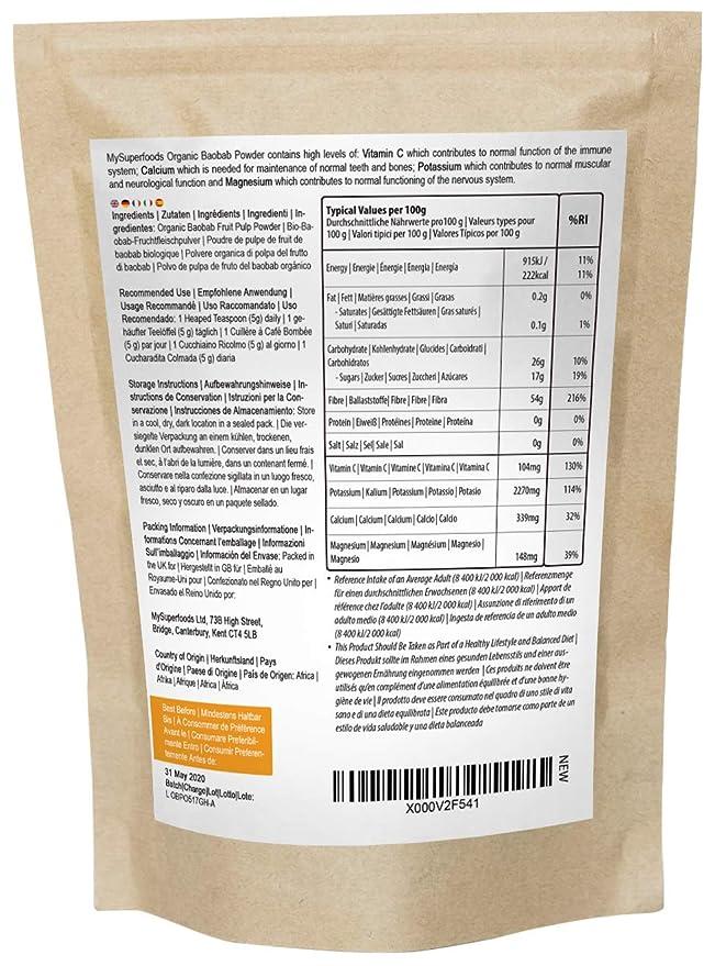 Polvo Orgánico Baobab (500 gramos) / MySuperFoods/Repleto de Vitamina C, Calcio, Magnesio, Potasio/Certificado como orgánico por el Soil Association: ...