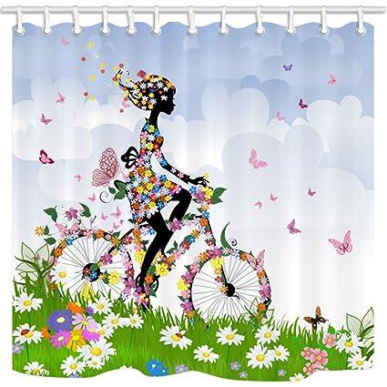 KOTOM cortinas de ducha de flores, niña de las flores montando bicicleta de la flor