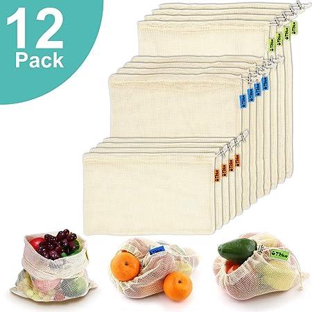 Bolsas reutilizables de malla de algodón orgánico para compras de ...