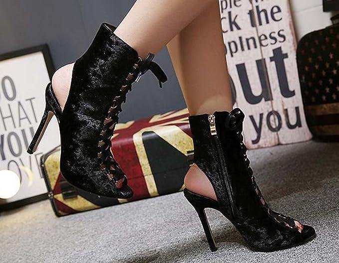 96ea9627 Zapatos De Tacón Alto Con Cordones Romanos En Primeras Horas De La Primavera  Con Cordones De Las Mujeres ( Color : Black , Size : 40 ): Amazon.com.mx:  ...