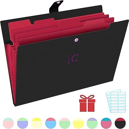 3 Pcs Expanding Accordion Document Organizer 5 Pockets A4 Plastic File Folders Pocket Folders for School and Office Black
