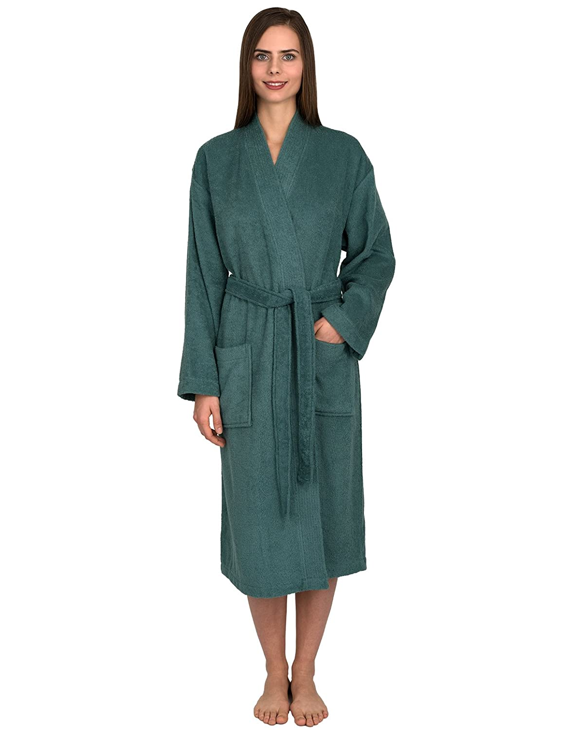 Deep sea TowelSelections Turkish Cotton Robe Kimono Collar Terry Bathrobe Made in Turkey