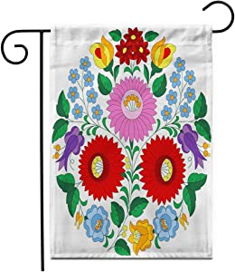 "Adowyee 12""x 18"" Garden Flag Hungarian Folk Pattern from Kalocsa in Circle Shape The Outdoor Double Sided Decorative House Yard Flags"