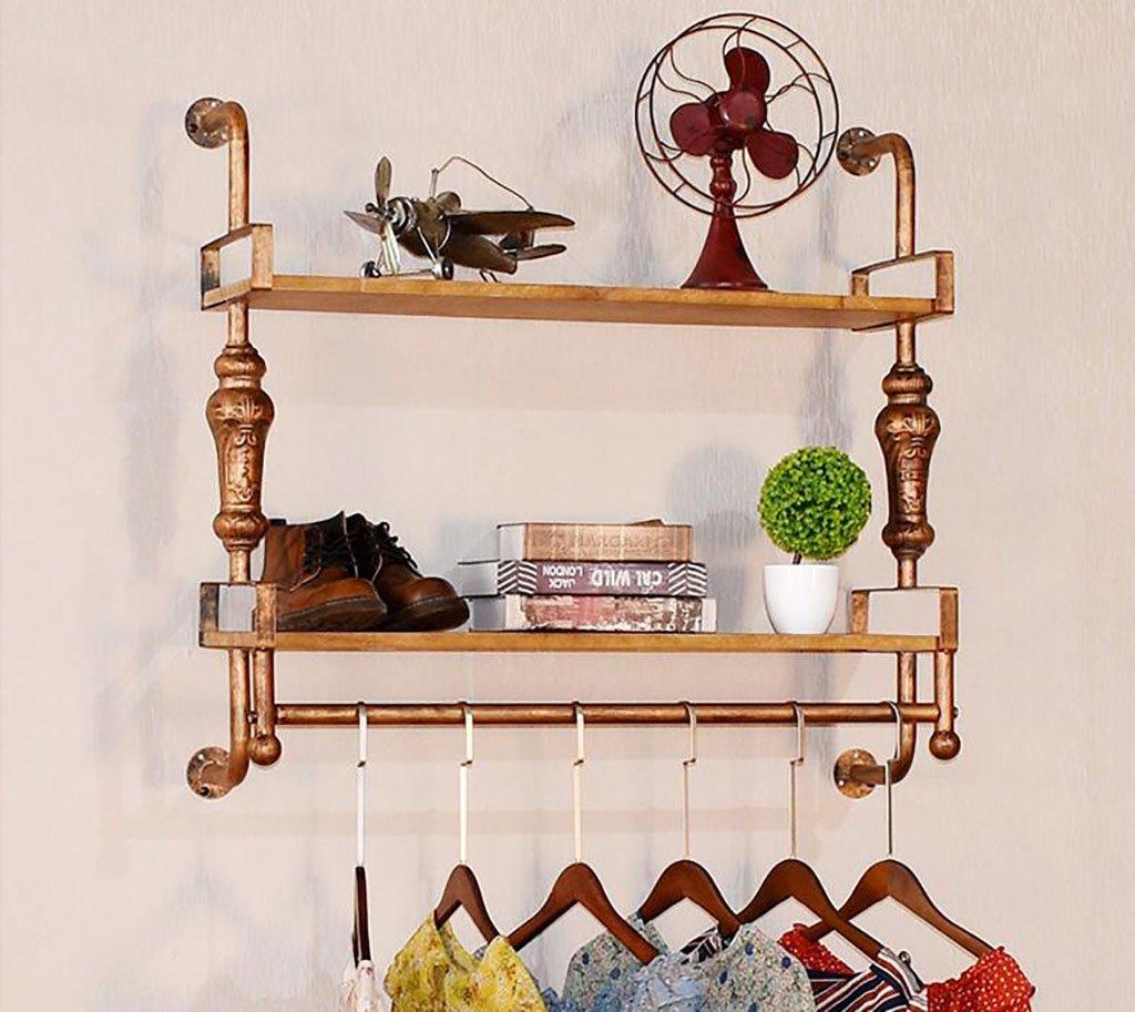 コートラック, ハンガー、錬鉄製の衣料品店ハンガー、頑丈な木製の壁掛け棚、男性と女性のレトロ服ラック (Color : A) B07SJL5ZZ1 A