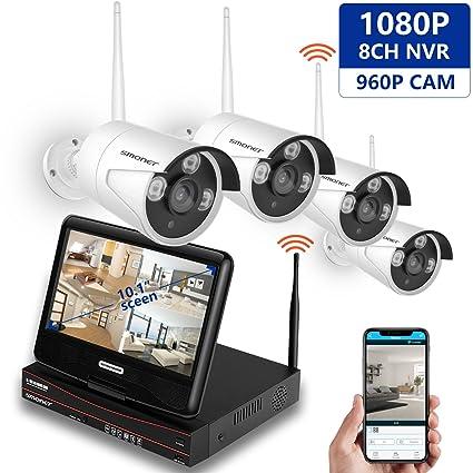 Kit de Vigilancia de Video inalámbrico con Monitor de Pantalla LCD de 10.1 Pulgadas, NVR