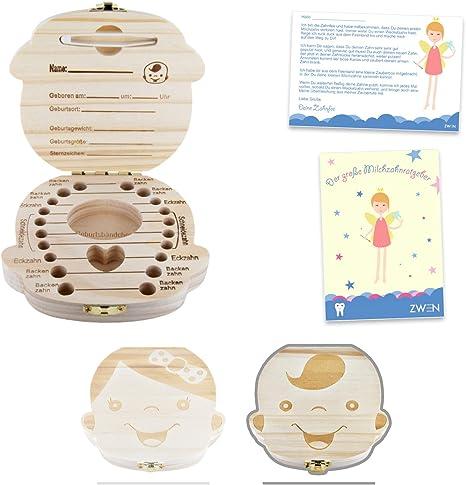 zwen para dientes de leche caja 2.0 [Nueva versión ╏ Alemán] de madera con pinzas, compartimento
