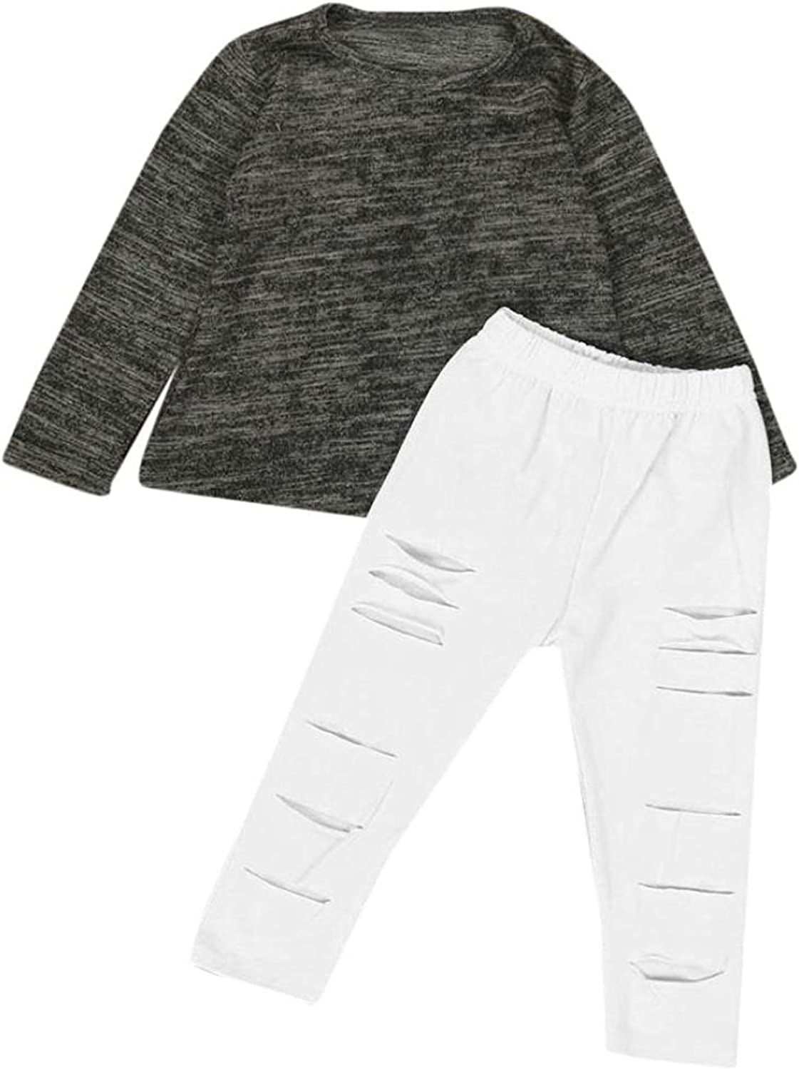 Fulltime 2-7 Years Old Kids Girls Outfit Clothes Long Sleeve T-Shirt Tops Long Pants Sets TM