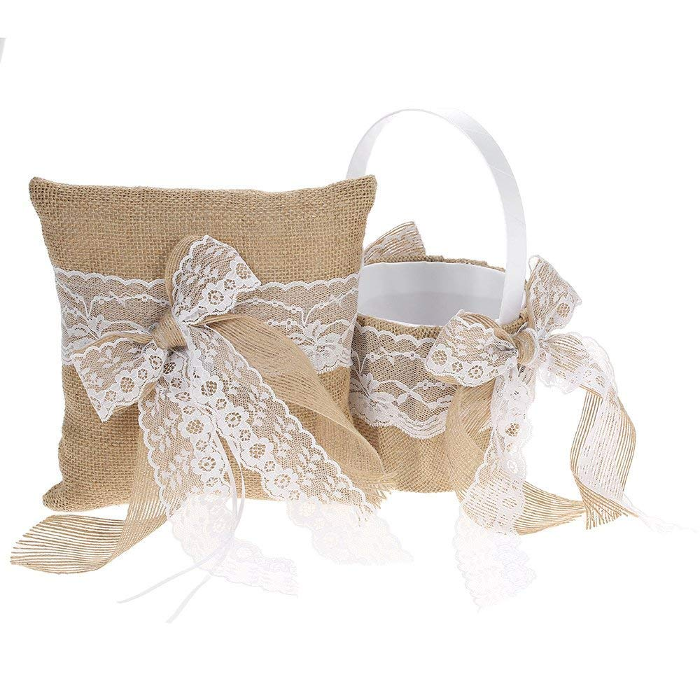 Patty Both Bowknot Ring Bearer Pillow and Rustic Wedding Flower Girl Basket Set 7 x 7 inches