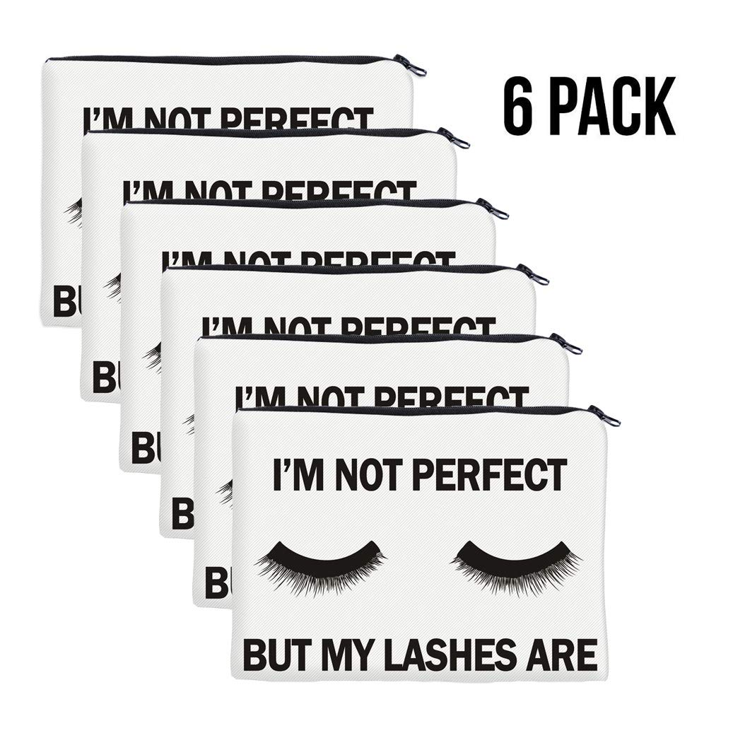 QincLing 6 Pack Eyelashes Makeup Bag – Cosmetic Pouch Bag Make Up Bag Travel Toiletry Case Pencil Case Organizer with Zippered for Travel Toiletry Beauty Pencil Bag 6 Pieces