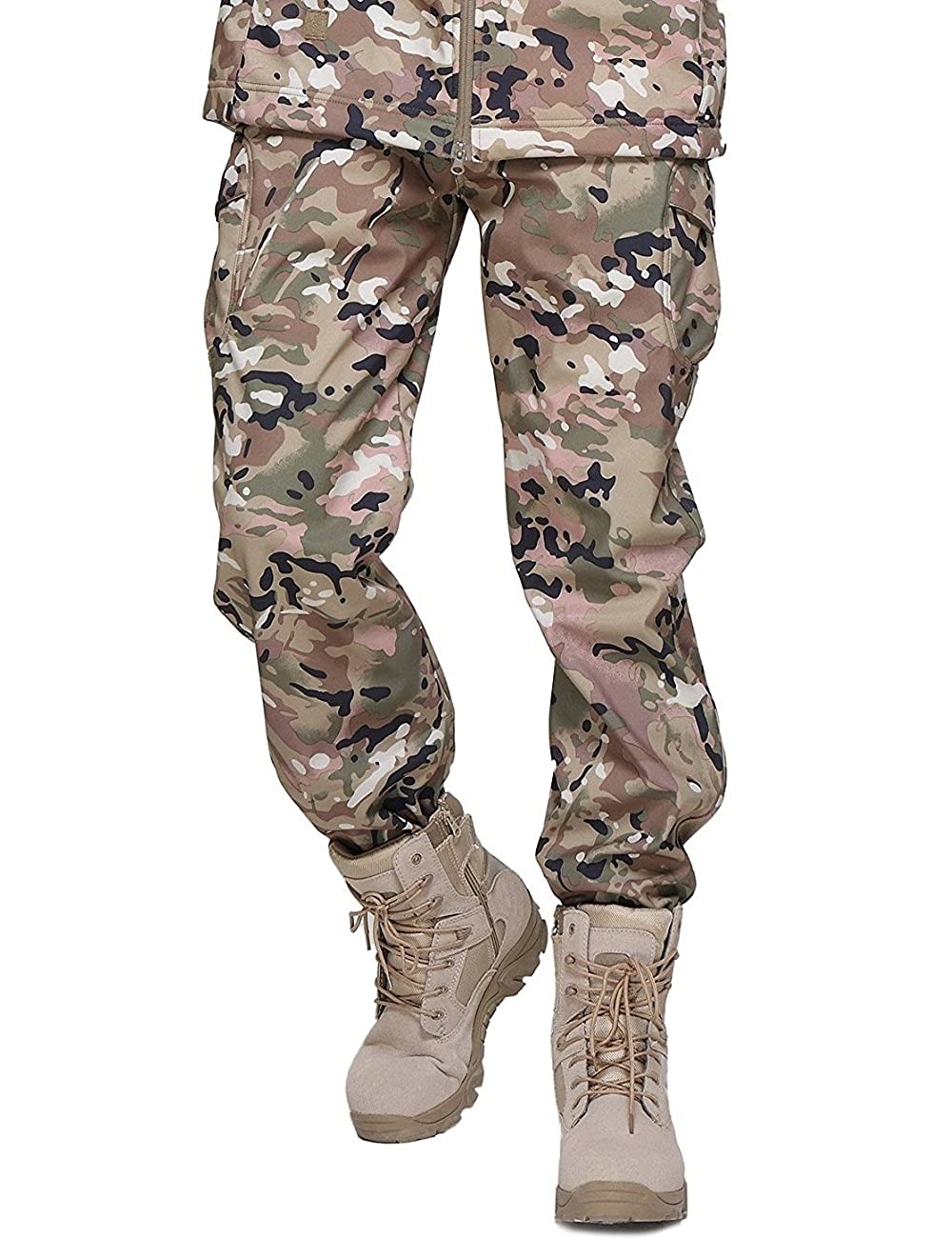 YFNT Men's Tactical Military Camping Hiking Soft Shell Fleece Camouflage Pants L02RCFK-P