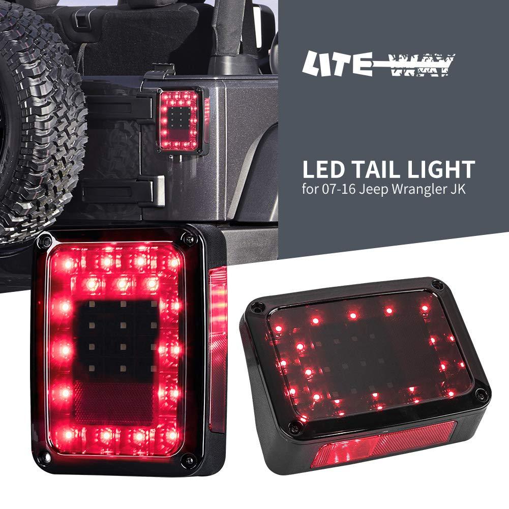 Liteway LED Tail Lights Smoked Lens for Jeep Wranlger JK 2007-2016 Brake Reverse Light Rear Back Up Turn Signal Lamp Daytime Running Lights DRL, 2 Years Warranty