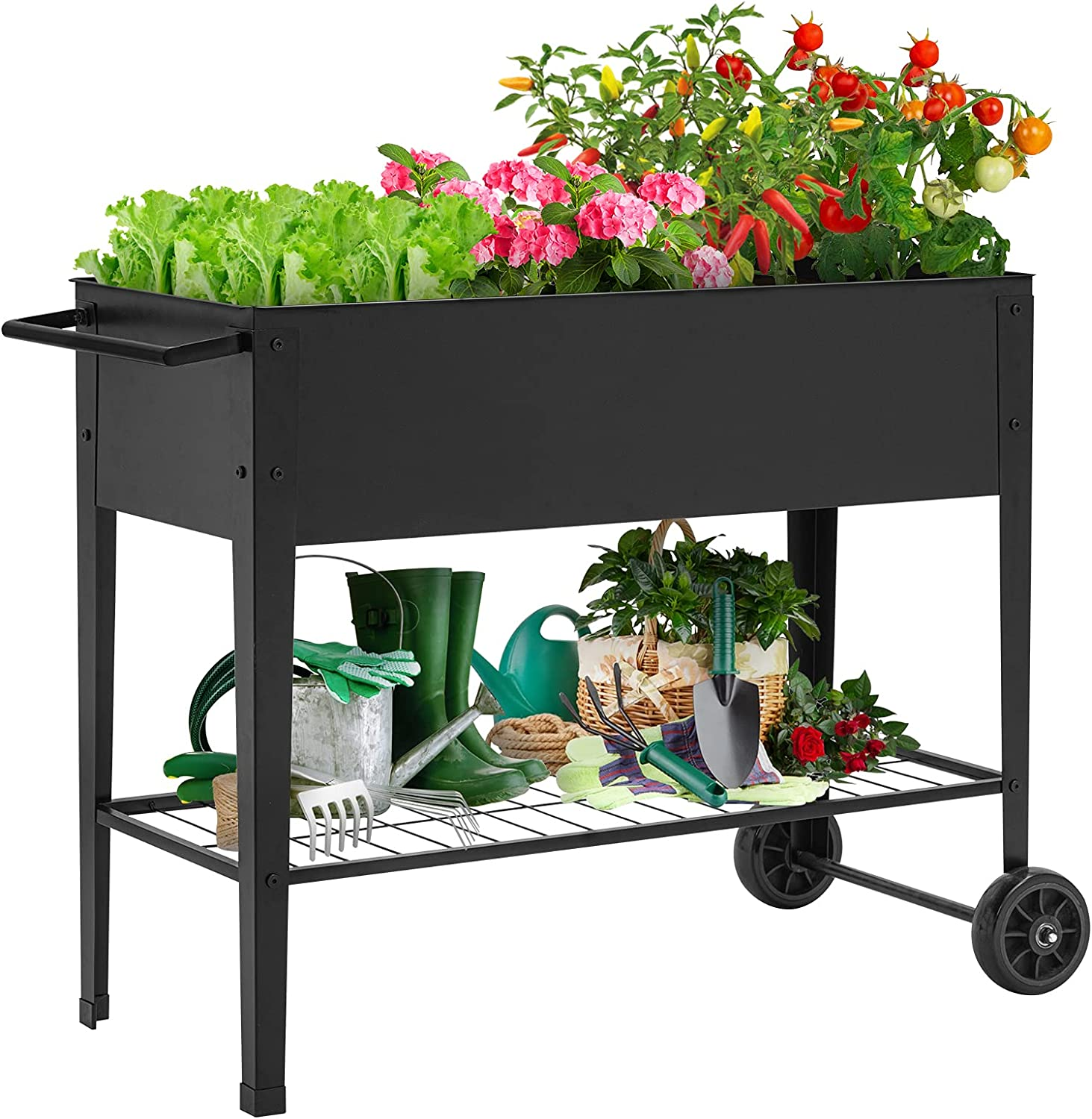 KINGSO Raised Garden Bed Elevated Planter Box Outdoor on Wheels Mobile Planter Garden Bed Box for Herb Vegetable Flower Backyard Patio Durable Steel Planter with Shelf, 42