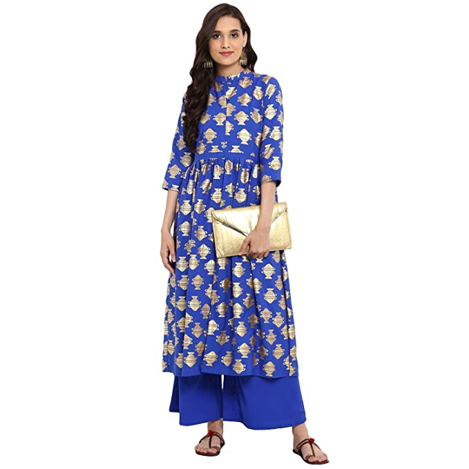 a1bcdb58da7 Ziyaa women s Royal Blue color Flared Foil Print Kurta Palazzo set ...