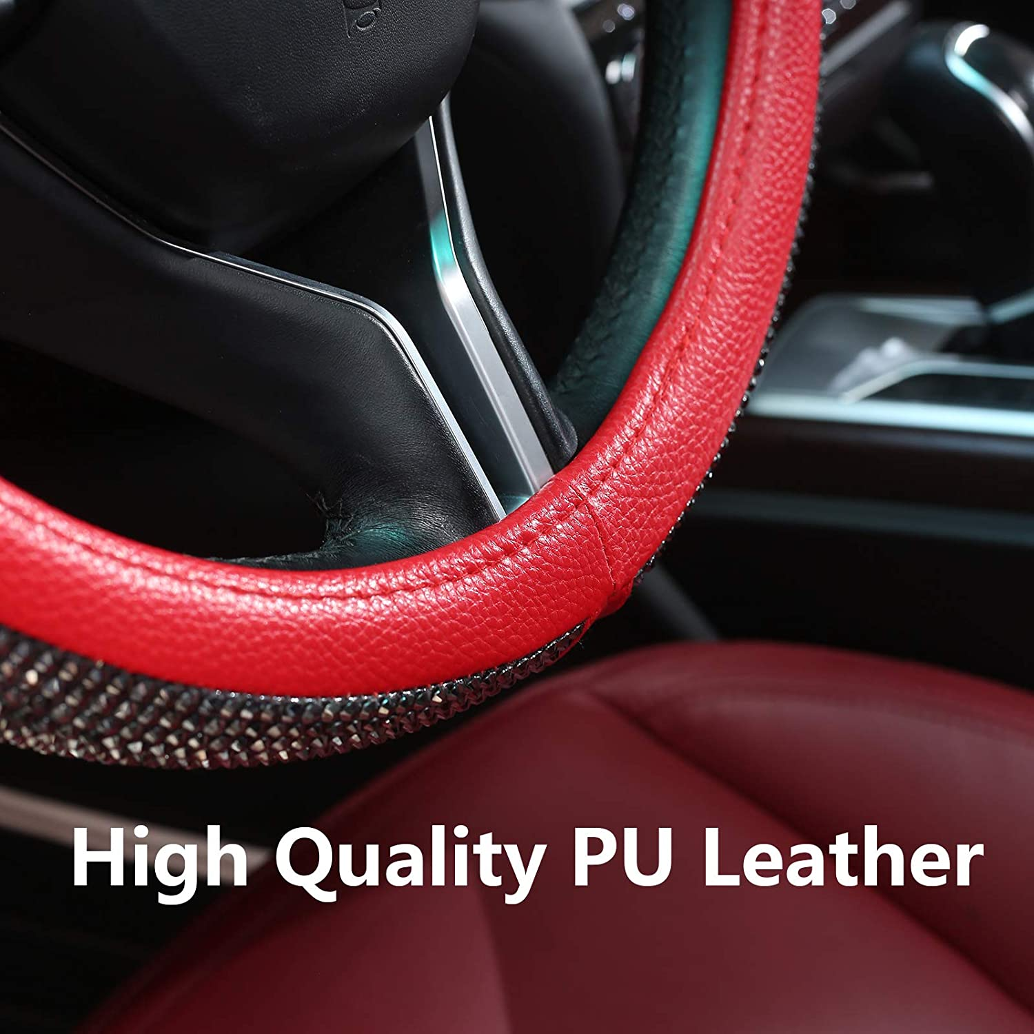 Universal Fit 15 Inch Car Wheel Protector for Women Girls(Red) Valleycomfy Diamond Leather Steering Wheel Cover with Bling Bling Crystal Resin Rhinestones