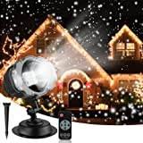 Christmas Snowfall Projector Lights, Syslux Indoor Outdoor Holiday Lights with Remote Control Rotatable White Snow for…