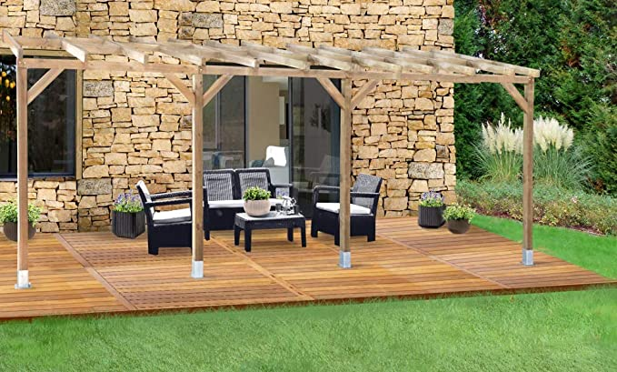 Chalet & Jardin – Techo couv terraza madera 3 x 6, 8 – sin tejado: Amazon.es: Jardín