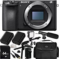 Sony Alpha a6500 Mirrorless Digital Camera (Body Only) 64GB Bundle 12PC Accessory Kit - Includes 64GB Memory Card + 2 Replacement FW-50 Batteries + AC/DC Rapid Home & Travel Charger + MORE