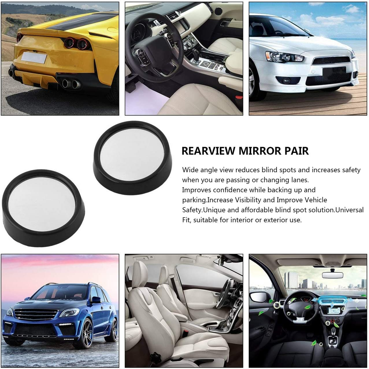black AngellCity Clear Car Rear View Mirror 360 Rotating Safety Wide Angle Blind Spot Mirror Parking Round Convex Auto Exterior Accessories
