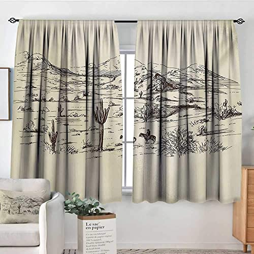 Elliot Dorothy Blackout Curtains Western,Wild West Landscape Illustration