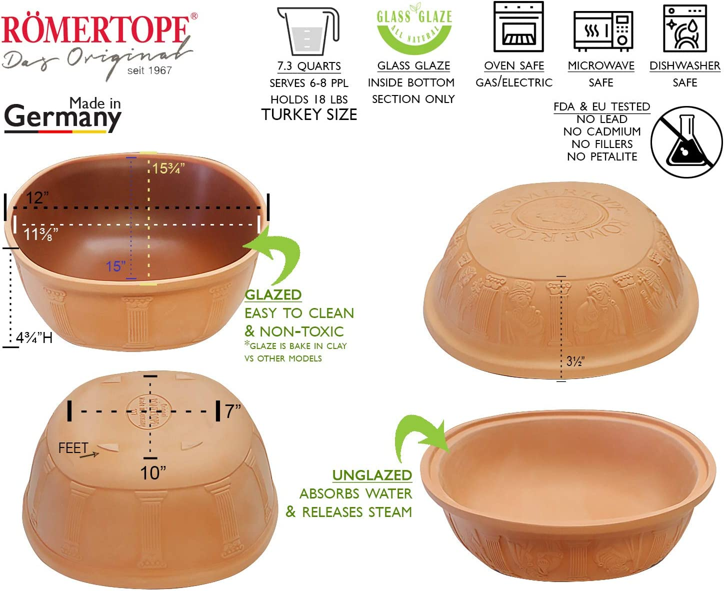 Romertopf Extra Large for Turkey Glazed Clay Roaster