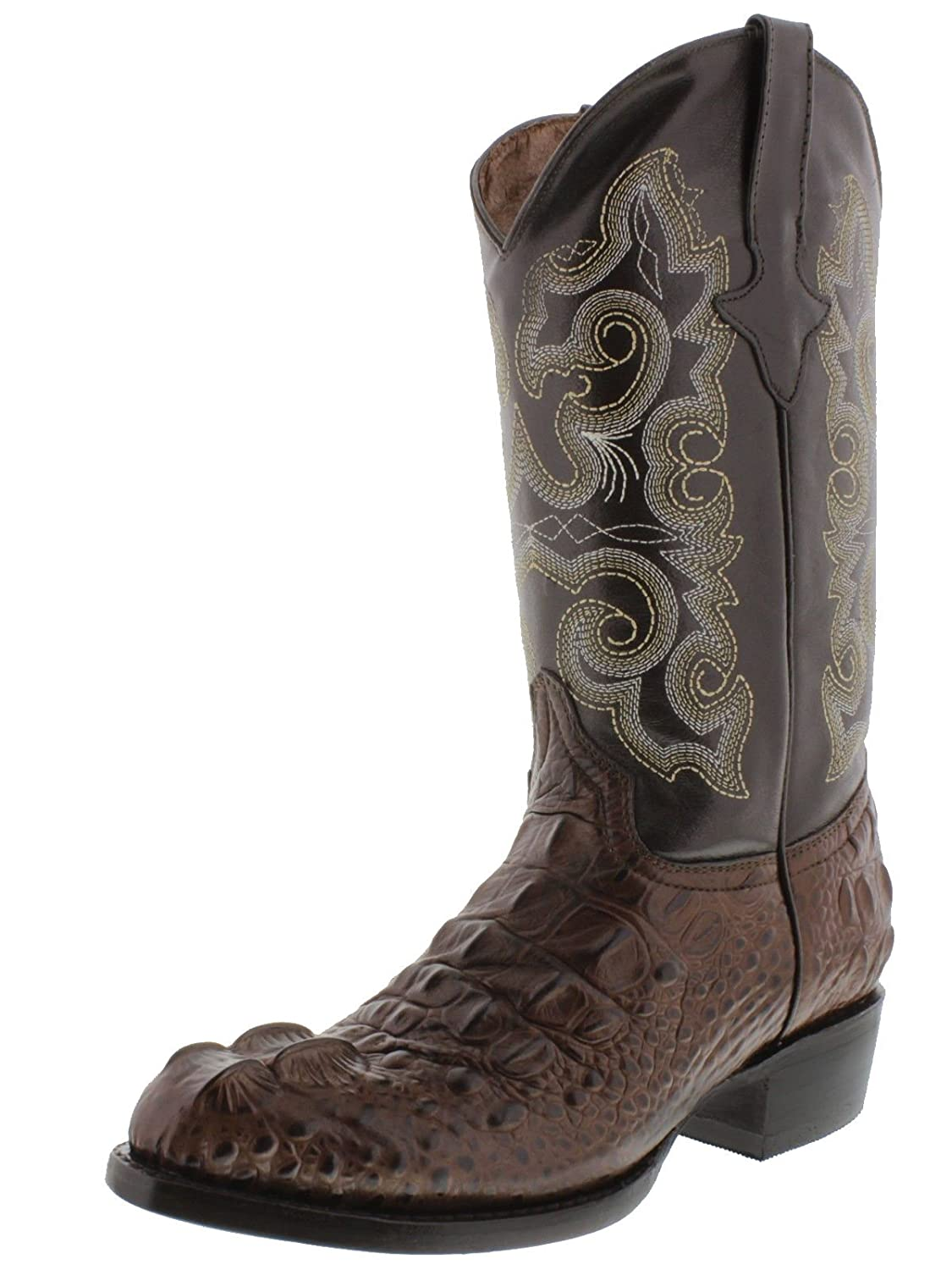 Men's Crocodile Alligator Head Lather Cowboy Western Rounded Boots Brown