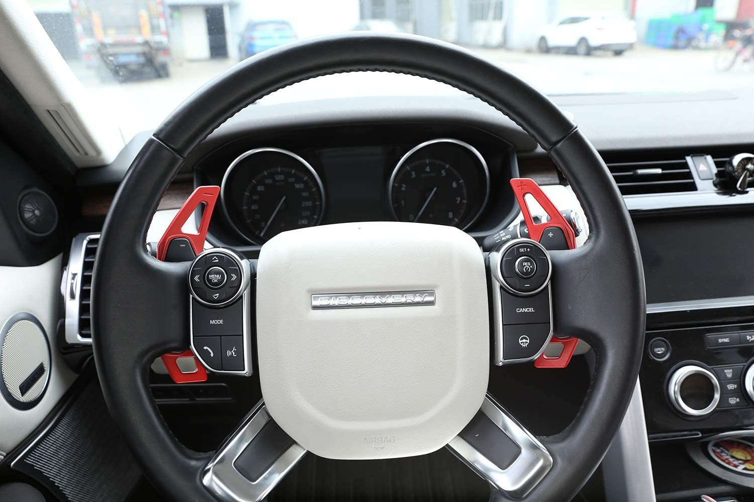 for Land rover Discovery Sport LR4 LR5 Evoque Vogue Velar for Jaguar XE XF F-Pace X761, Aluminum Alloy Steering Wheel Gear Shift Paddles (Red)