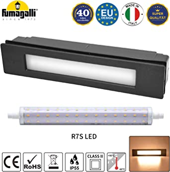 Lámpara de pared LED empotrable para exterior, IP55, para paredes, caminos, entradas, escaleras, color negro, 230 V - 11 W R7s, bombilla LED blanco cálido: Amazon.es: Iluminación