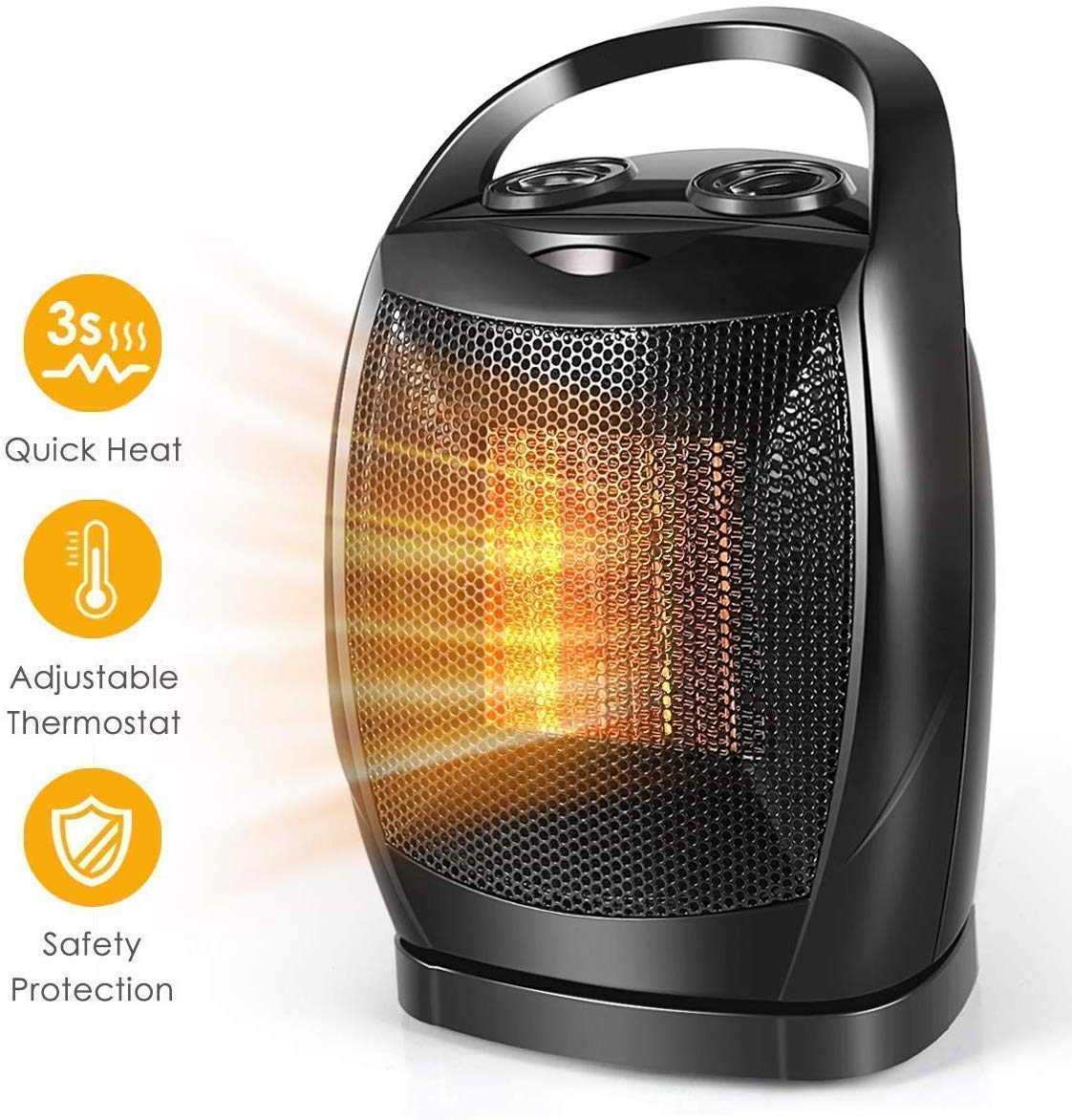 Space Heater, 1500W Fast Heat Small Portable Ceramic Space Heater for Office Small Room Desk, Multi Thermostat, Overheat Tip-Over Protection for Indoor Use