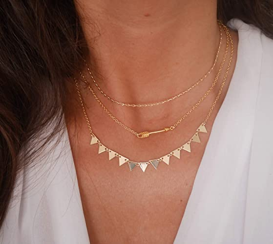 top design concepteur neuf et d'occasion prix bas Lot de 3 Colliers fins plaqué or - bijoux géométrique ...